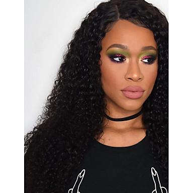 Remy haj Csipke Paróka Göndör 180% Sűrűség Természetes hajszálvonal / Afro-amerikai paróka / 100% kézi csomózású Közepes / Hosszú Női