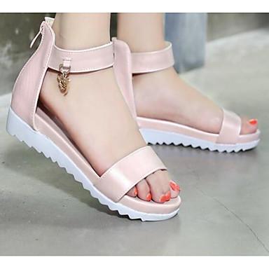 Damen Schuhe PU Frühling Sommer Komfort Sandalen Für Normal Gold Weiß Blau Rosa