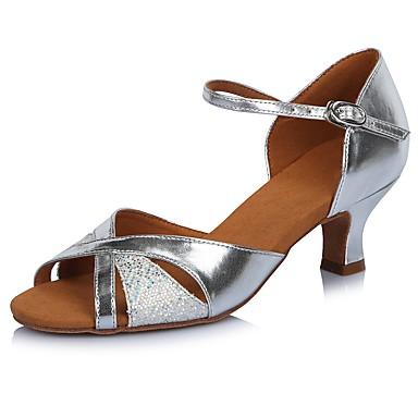 Damen Latin Paillette Leder Glanz Sandalen Absätze Professionell Glitter Schnalle Farbaufsatz Stöckelabsatz Silber 2