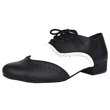 Férfi Latin cipők Bőrutánzat / Bőr Magassarkúk Otthoni Személyre szabott sarok Személyre szabható Dance Shoes Fekete / fehér