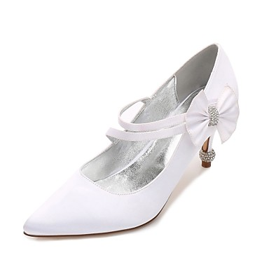 Women's Shoes Satin Spring / Summer Comfort / Basic Pump Wedding Shoes Kitten Heel / Cone Heel / Low Heel Pointed Toe Rhinestone /