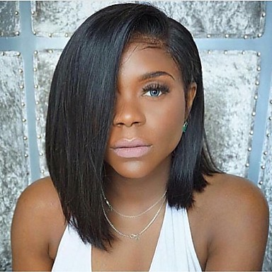 cheap Human Hair Wigs-Human Hair Glueless Full Lace Full Lace Wig Bob Middle Part style Brazilian Hair Straight Wig 130% Density with Baby Hair Natural Hairline African American Wig 100% Hand Tied Women's Short Medium