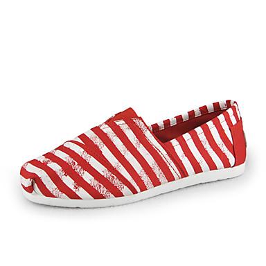 Damen Schuhe Leinwand Frühling Herbst Leuchtende Sohlen Loafers & Slip-Ons Peep Toe Für Normal Marinenblau Rot Hellblau