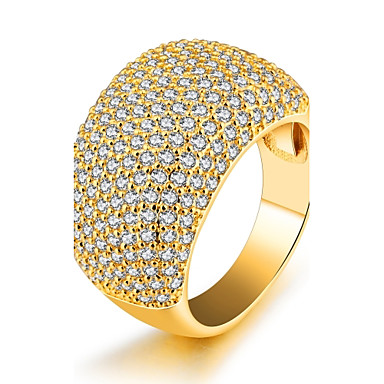 Women's Cubic Zirconia Band Ring - Zircon, Gold Plated Luxury, Fashion, Statement 6 / 7 / 8 Gold For Party / Birthday / Gift