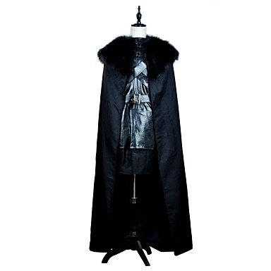 Game of Thrones Jon Snow Costume Men's Movie Cosplay Black Top Skirt Cloak Halloween Carnival PU Leather Polyster