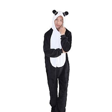 Kigurumi-Pyjamas Panda Pyjamas-Einteiler Kostüm Flanell Schwarz / Weiß Cosplay Für Erwachsene Tiernachtwäsche Karikatur Halloween Fest /