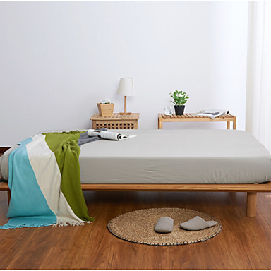 Flat Sheet - Poly / Cotton Printed Solid Colored 1pc Flat Sheet 2pcs Pillowcases