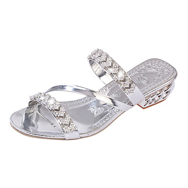 Women's Shoes PU(Polyurethane) Spring / Fall Comfort / Novelty / Slingback Sandals Flat Heel Cap-Toe Rhinestone Gold / Silver / Wedding