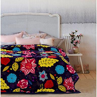 Korallenfleece, Bedruckt Blume Poly /  Baumwollmischung Decken