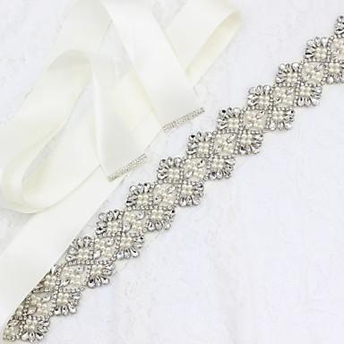 Satin / Tulle Wedding / Special Occasion / Anniversary Sash With Rhinestone / Imitation Pearl Sashes