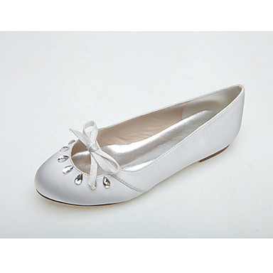 Női Cipő Szatén Tavasz / Nyár Balerinacipő Esküvői cipők Lapos Kerek orrú Strasszkő / Csokor Fehér / Rózsaszín / Party és Estélyi