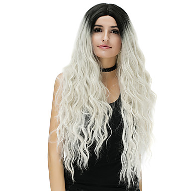 Synthetic Wig Loose Wave Blonde Synthetic Hair Ombre Hair Blue / Blonde / Pink Wig Women's Long Capless