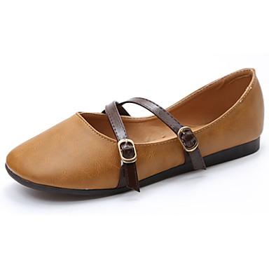 Damen Loafers & Slip-Ons Komfort Sommer PU Normal Schnalle Flacher Absatz Weiß Gelb Rosa Flach