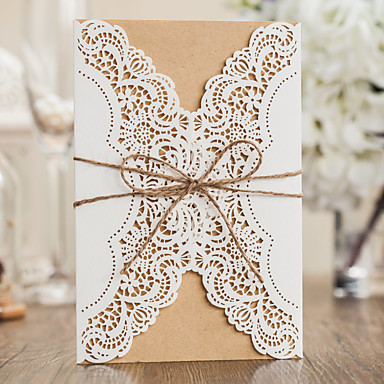 Wrap & Pocket Wedding Invitations 10 - Invitation Cards Classic Style Embossed Paper
