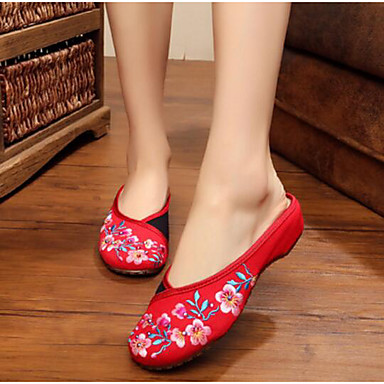 Damen Schuhe Stoff Sommer Komfort Slippers & Flip-Flops Für Normal Schwarz Rot