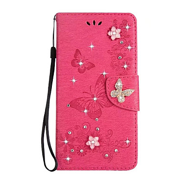 Case For Sony Xperia XA Ultra / Sony Wallet / Card Holder / Rhinestone Full Body Cases Solid Colored Hard PU Leather for Sony Xperia XZ Premium / Sony Xperia XZ / Sony Xperia XA1 Ultra