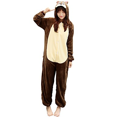 Adults' Kigurumi Pajamas Chipmunk Onesie Pajamas Costume Flannelette Brown Cosplay For Animal Sleepwear Cartoon Halloween Festival / Holiday / Christmas