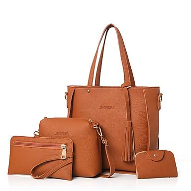 Damen Taschen PU Bag Set 4 Stück Geldbörse Set Reißverschluss für Normal Büro & Karriere Draussen Ganzjährig Schwarz Rote Rosa Grau Braun