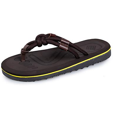 Herrn Schuhe PU Gummi Sommer Komfort Sandalen für Normal Draussen Schwarz Braun