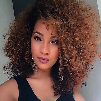 Szintetikus parókák Göndör Ombre Szintetikus haj Afro-amerikai paróka Ombre Paróka Közepes Sapka nélküli Fekete / sötét Auburn