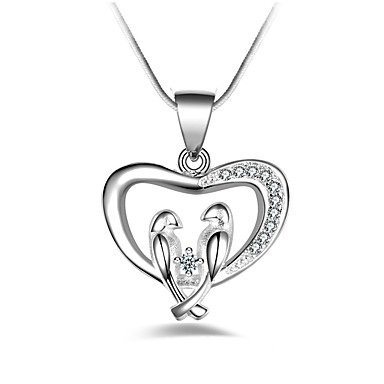Women's Synthetic Diamond Pendant Necklace - Heart Classic, Fashion Silver Necklace For Party, Gift, Daily