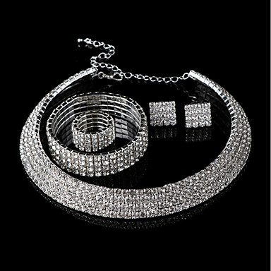 Női Strassz Luxus Ékszer szett - Luxus / Csing Csing / Divat Fehér Beszúrós fülbevalók / Karkötő / Nyaklánc Kompatibilitás Esküvő