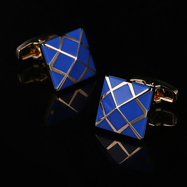 Geometric / Square Cut Golden Cufflinks Gift Boxes & Bags / Fashion Men's Costume Jewelry For