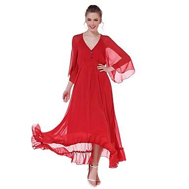 Damen A-Linie Kleid-Party Ausgehen Lässig/Alltäglich Einfach Street Schick Solide V-Ausschnitt Maxi 3/4 Ärmel Baumwolle Sommer HerbstHohe