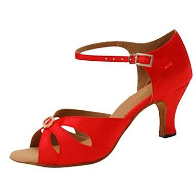 Női Latin cipők Selyem Szandál Csat / Kristályok / Strasszok Kubai sarok Személyre szabható Dance Shoes Piros / Teljesítmény / Bőr