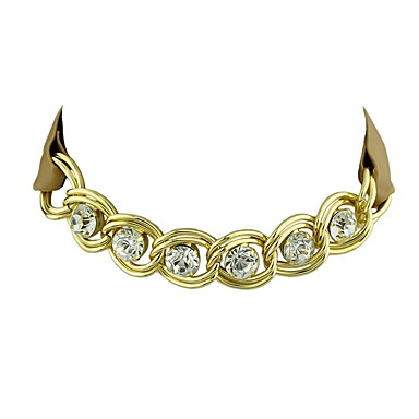للمرأة الماس الاصطناعية جلد / حجر الراين قلادات ضيقة - أساسي / بانغك / أسلوب بسيط Circle Shape أسود / بني فاتح قلادة من أجل هدية /