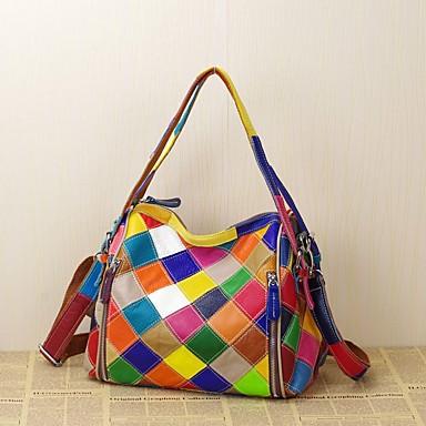 Women's Bags Cowhide Tote Plaid / Split Joint Rainbow