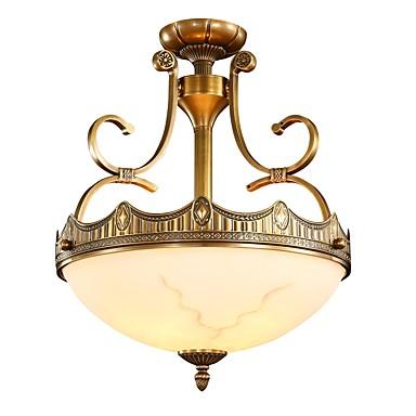 3-Light Flush Mount Lighting Ambient Light Brass Metal Glass Mini Style, Bulb Included 220-240V / 100-120V / E26 / E27