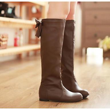 Damen Schuhe Echtes Leder PU Frühling Winter Komfort Stiefel Für Normal Weiß Schwarz Braun