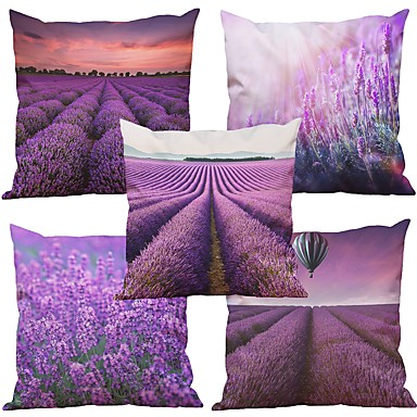 5 pcs Natural/Organic Polyester Pillow Case Pillow Cover, Textured Beach Style Euro Bolster Traditional/Classic Retro