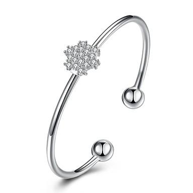 Damen Manschetten-Armbänder Personalisiert Luxus Klassisch Retro nette Art Hypoallergen Modisch Gothic Sterling Silber Zirkon Blume