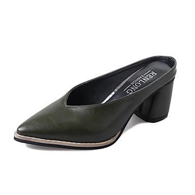 Női Cipő PU Nyár Kényelmes Papucs és papuc blokk Heel Erősített lábujj Fekete / Sárga / Zöld