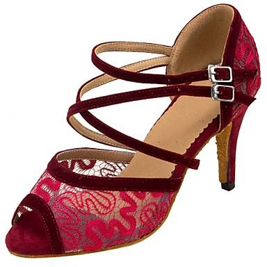 Damen Schuhe für den lateinamerikanischen Tanz Beflockung / Netz Sandalen / Absätze Schnalle / Spitze Maßgefertigter Absatz Maßfertigung