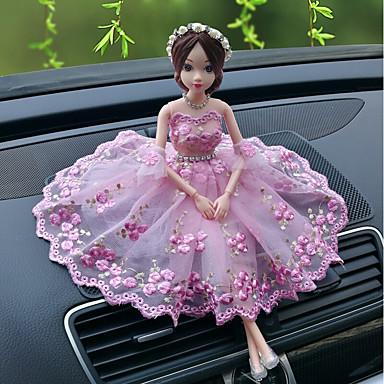 رخيصةأون اكسسوارات السيارات الداخلية-دي السيارات الحلي الإبداعية الأزياء الكرتون باربي دمية الدانتيل الزفاف ضوء مسحوق الأميرة سيارة قلادة&الحلي التطريز
