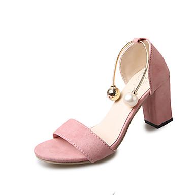 Damen Schuhe PU Frühling Sommer Komfort Sandalen Blockabsatz Offene Spitze Imitationsperle für Kleid Party & Festivität Büro & Karriere