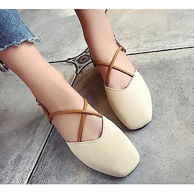 Damen Schuhe PU Frühling Sommer Komfort Sandalen für Normal Beige Rosa