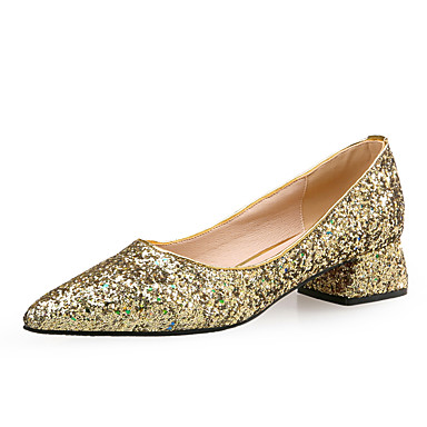 Women's Shoes Sparkling Glitter / Paillette Fall / Winter Comfort / Novelty Heels Chunky Heel Pointed Toe Sequin Gold / Silver / Dress