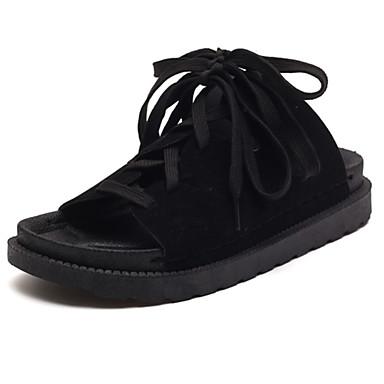 Damen Sandalen Komfort Sommer PU Normal Schnürsenkel Flacher Absatz Schwarz Flach