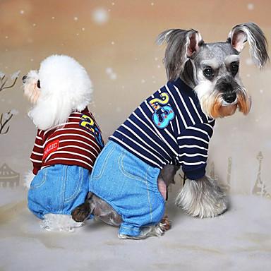 Hund Kjeledresser Hundeklær Jeans Grå Rød Blå Bomull Kostume For kjæledyr Herre Dame Cowboy Mote