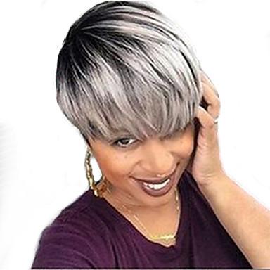 Emberi hajszelet nélküli parókák Emberi haj Egyenes Géppel készített Paróka