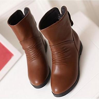 Damen Schuhe PU Herbst Winter Modische Stiefel Stiefel Für Normal Weiß Schwarz Braun