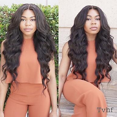Emberi haj Tüll homlokrész / Csipke eleje Paróka Hullámos haj Paróka 130% / 150% Természetes hajszálvonal / Afro-amerikai paróka / 100% kézi csomózású Női 10 hüvelyk / 12 hüvelyk / 14 hüvelyk
