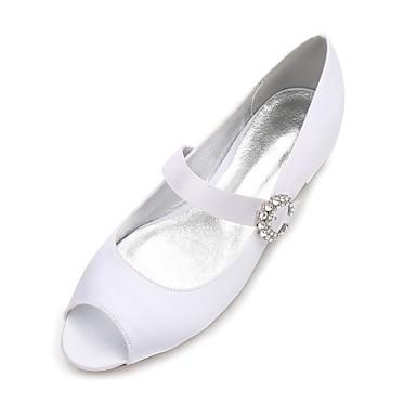 Women's Shoes Satin Spring Summer Mary Jane Ballerina Comfort Wedding Shoes Flat Heel Peep Toe Rhinestone Sparkling Glitter Ribbon Tie for