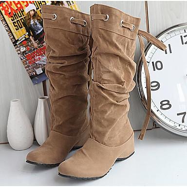 Damen Stiefel Komfort Modische Stiefel Winter Echtes Leder PU Normal Weiß Schwarz Gelb Braun Unter 2,5 cm