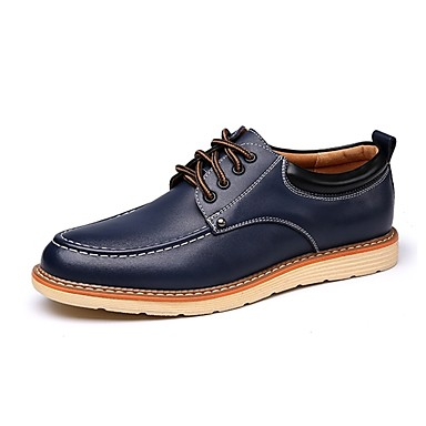 Férfi cipő Bőr Tavasz Ősz Kényelmes Félcipők Fűző mert Hétköznapi Fekete Barna Kék