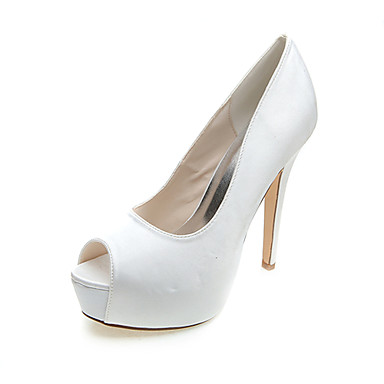 Women's Satin Spring / Summer Formal Shoes Wedding Shoes Stiletto Heel Peep Toe White / Blue / Party & Evening